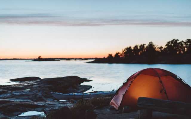 Tent with a sunset view - Saint Anna Archipelago, Sweden